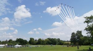 The red arrows flying in formation over Combe playing field