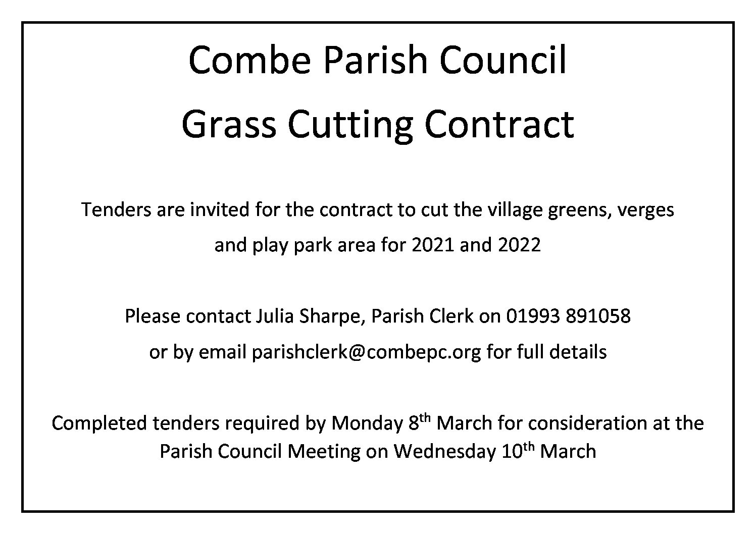 Grass Cutting Tender 2021 and 2022